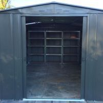 garden shed with shelves